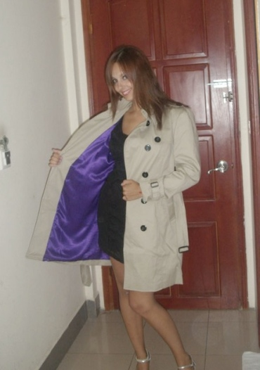 Purple silk lining in my new trench!