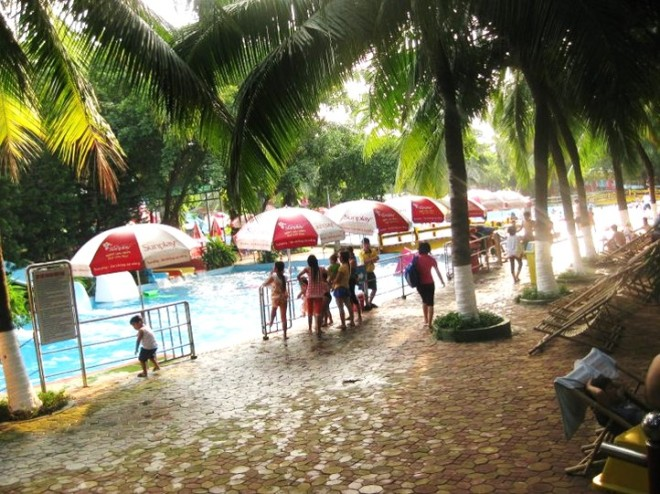 Not a bikini in sight... Water Park in Ho Chi Minh City
