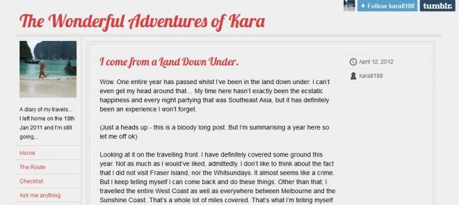 The Wonderful Adventures of Kara - Travel Blog!