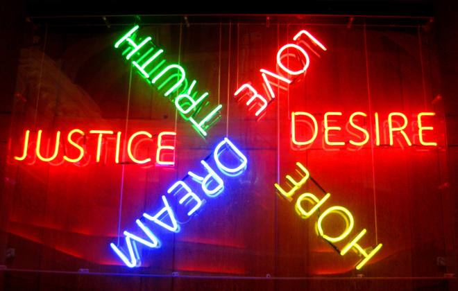 Neon signs at Clink78